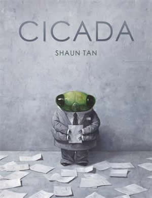 Cover of a book showing a green cicada in a grey suit surrounded by papers