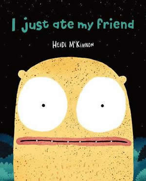 Cover of a book showing a yellow cartoon face with large white eyes in the night with stars