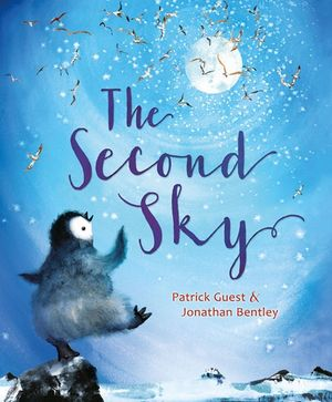 Cover of a book showing a cute penguin dancing under the moonlight with a flock of birds in the sky